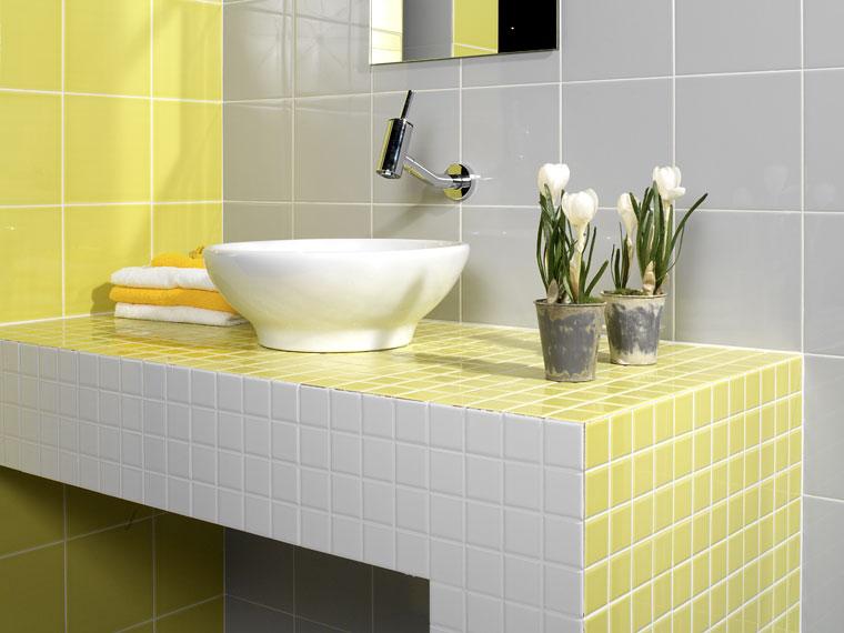 Superior Azulejos De Gresite De Color Amarillo Y Gris. Diseño Baño Gresite Amarillo