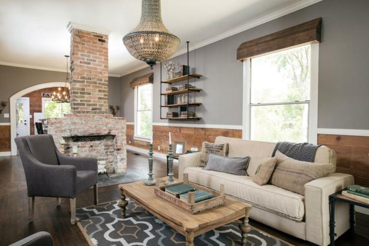 grises casa central leña paredes grises