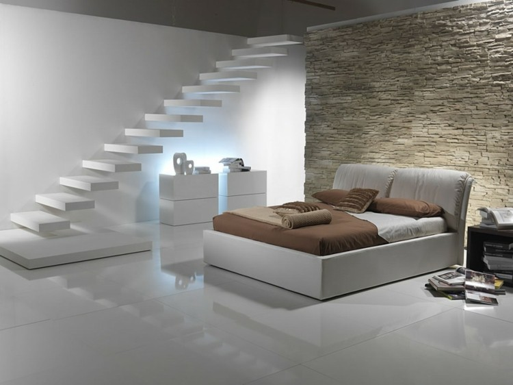 habitacion moderna escaleras flotantes