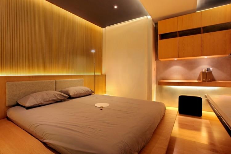 habitacion estilo minimalista madera led