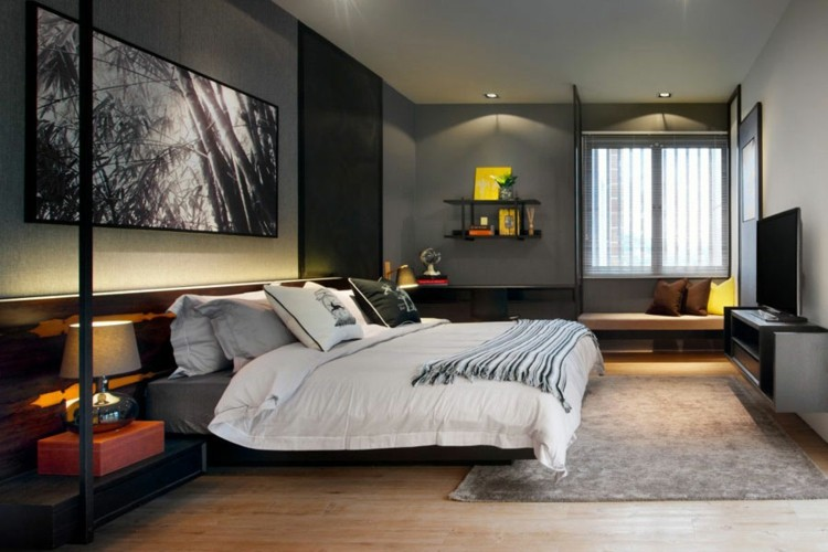 habitacion moderna estilo diseño masculino
