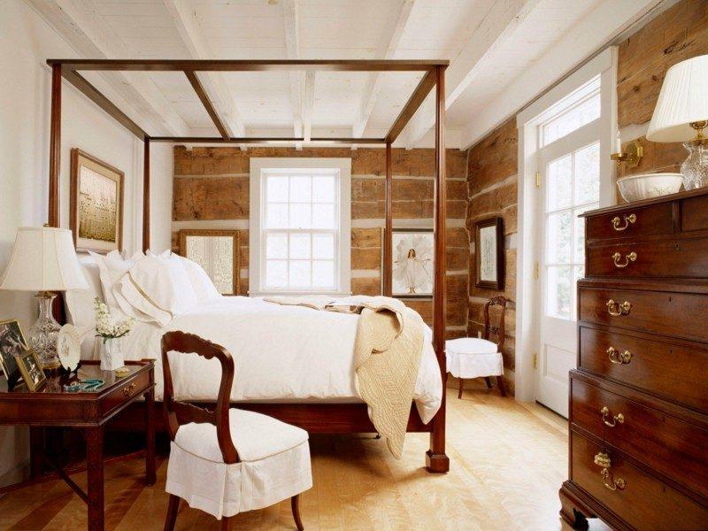 habitacion rustica cama dosel madera