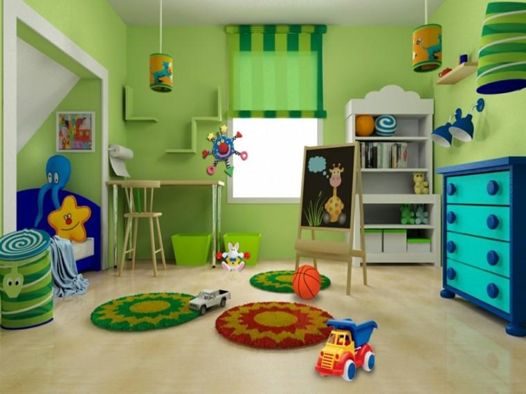 habitacón infantil verde zona juegos