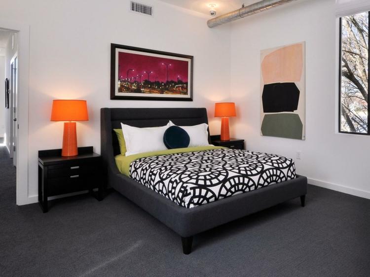 habitacion moderna lamparas color naranja