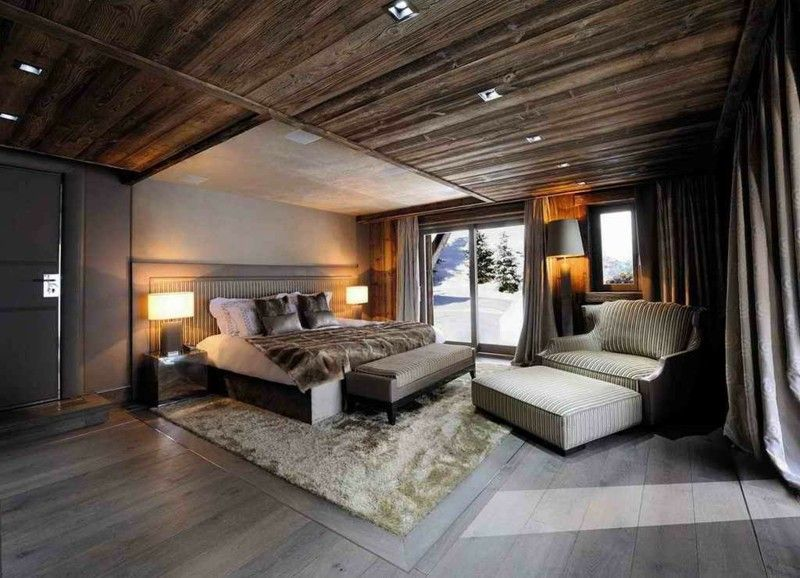 habitaciones modernas techo rústico madera