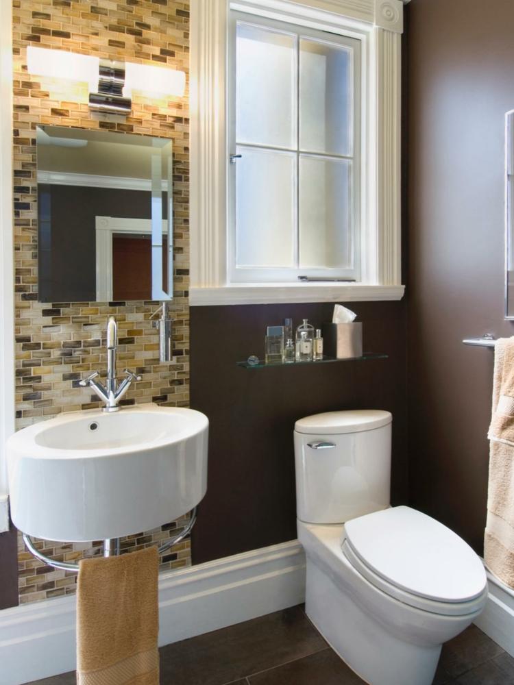 ideas de como decorar un baño pequeño lamparas murales espejo