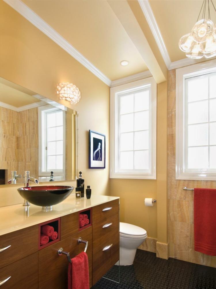 ideas de como decorar un baño pequeño lamparas amarillo