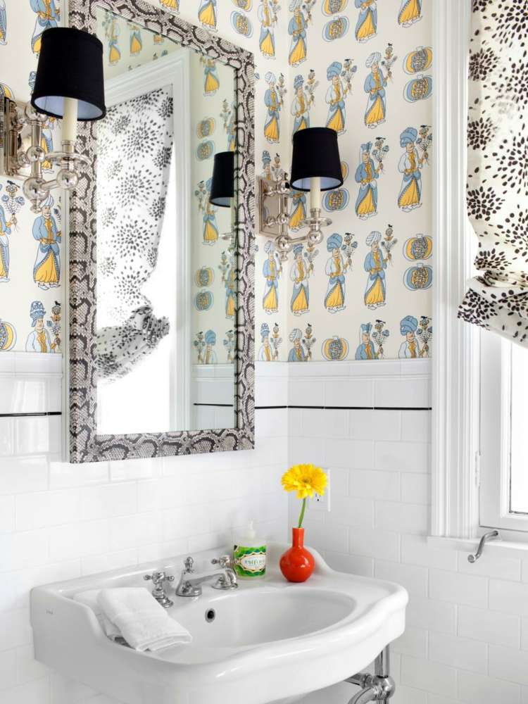 ideas de como decorar un baño pequeño mesas cortinas flor