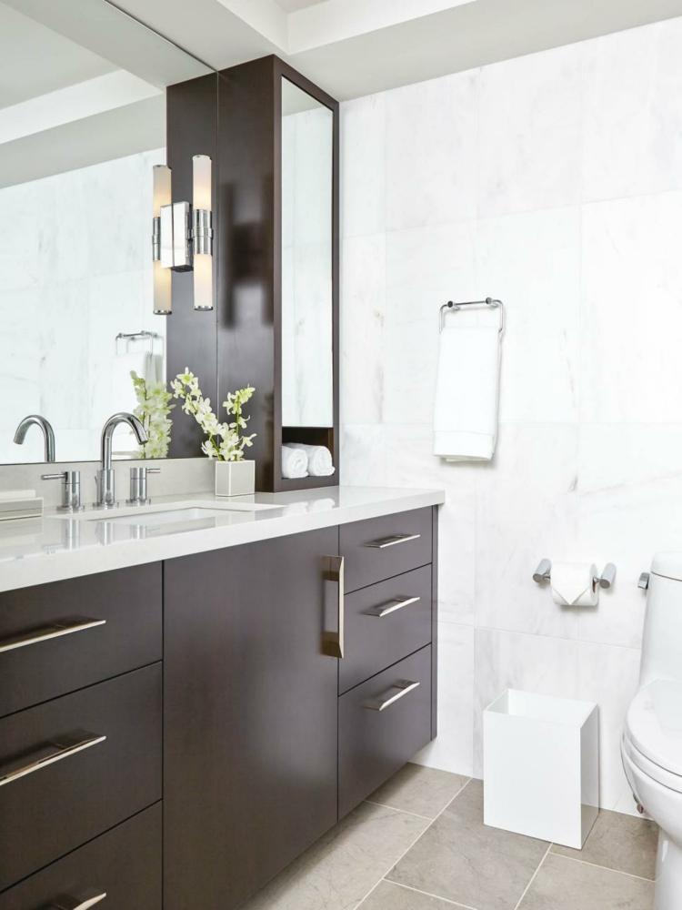ideas de como decorar un baño pequeño rojo vidrios madera