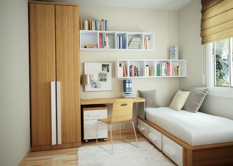 ideas de decoracion para dormitorios pequeños muebles madera