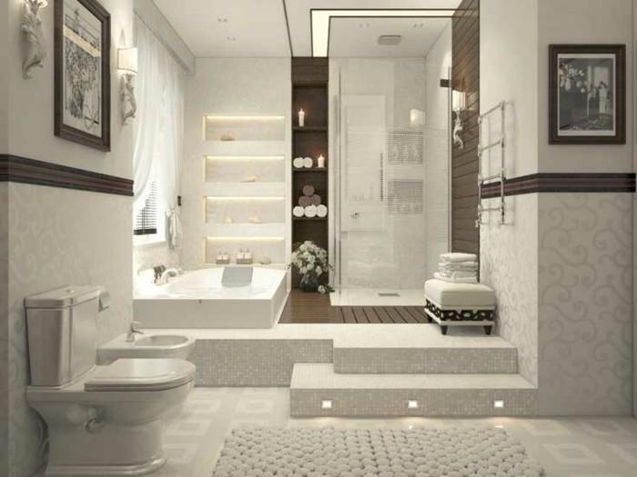 ideas decoracion baños pequeños alfombras escalones