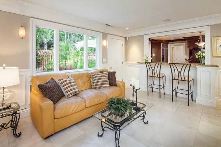 decoracion interiores salones sofa amarilla ideas