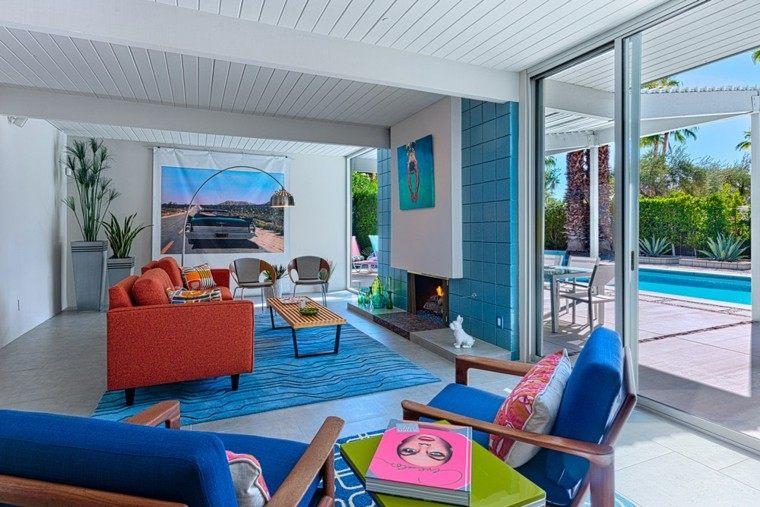 decoracion salon moderno chimenea losas azules ideas