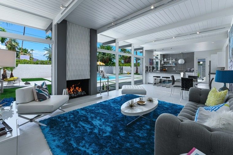 decoracion salon comedor alfombra azul moderno ideas