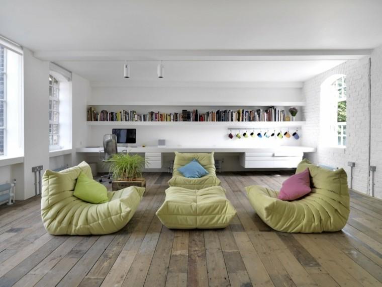 ideas decoracion salon muebles verdes modernos
