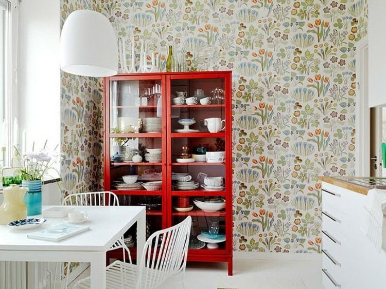 ideas diseño de interiores rojo estantes lamparas