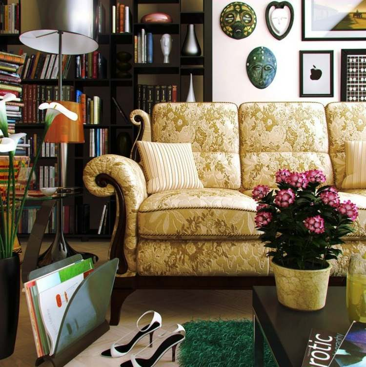 ideas diseño de interiores zapatos libros plantas