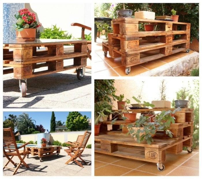 mesillas jardineras pallet madera