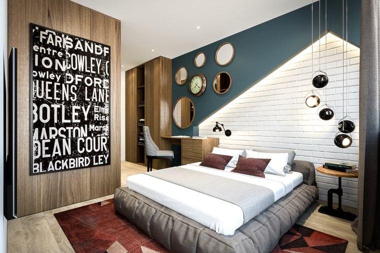 decorar habitacion dormitorio ladrillo azul ideas