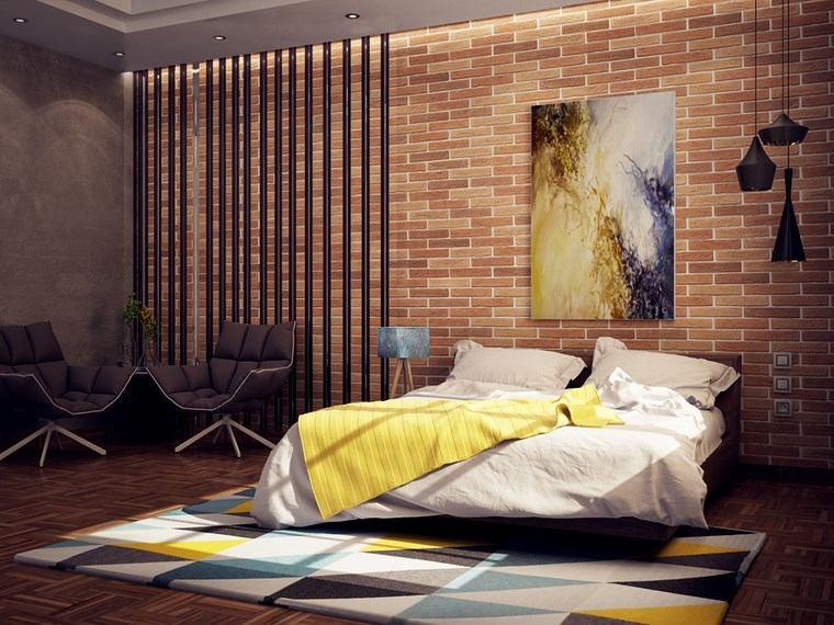 decorar habitacion dormitorio pared ladrillo ideas