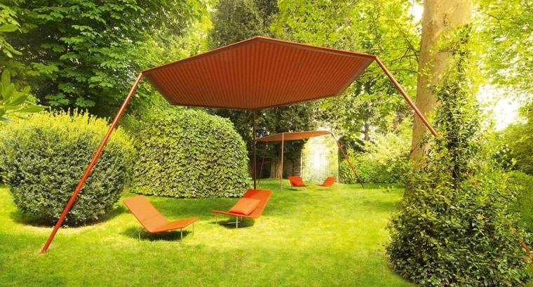 pergolas rojas jardines amplios muebles rojos ideas