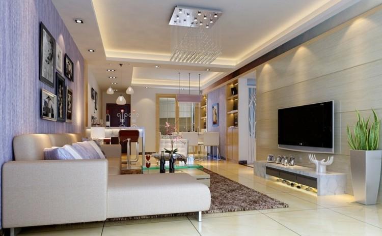 Iluminacion salon y dise os con luminarias variadas - Focos para salon ...