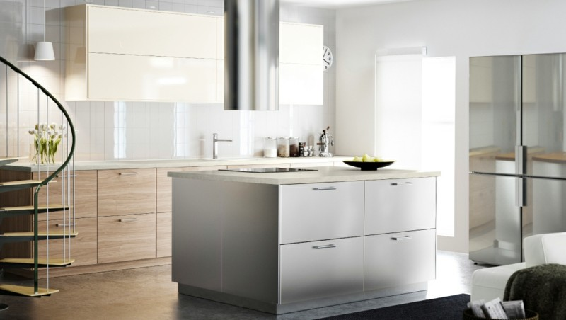 isla cocina blanca diseño moderno