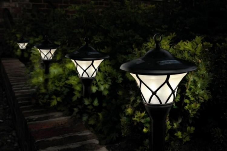 jardines bombillas led elegante faroles suelos
