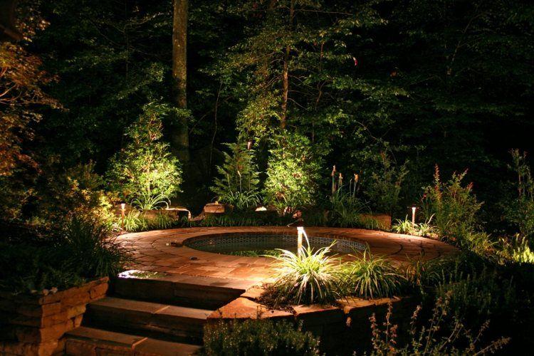 jardines bombillas led ideas frondoso fuente