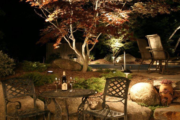 jardines bombillas led ideas plantas exteriores mesas