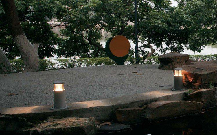 jardines bombillas led ideas plantas hormigon rocas