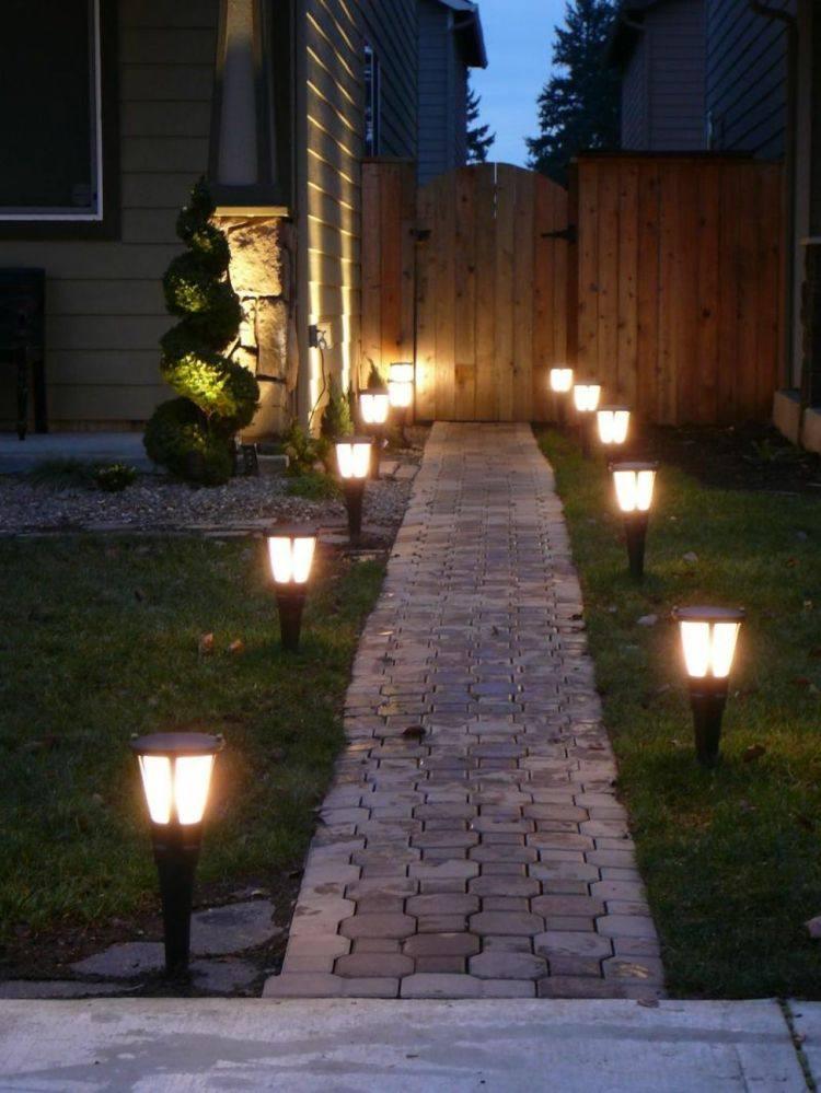 jardines bombillas led ideas senderos solares