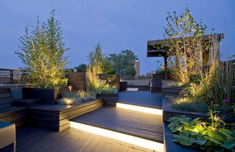 jardines bombillas led ideas terrazas maderas