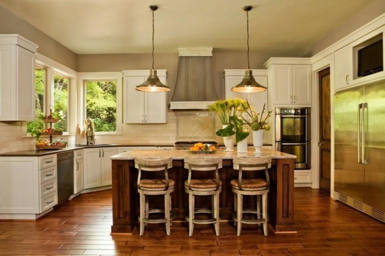 jarrones blancos decorando cocina moderna isla ideas