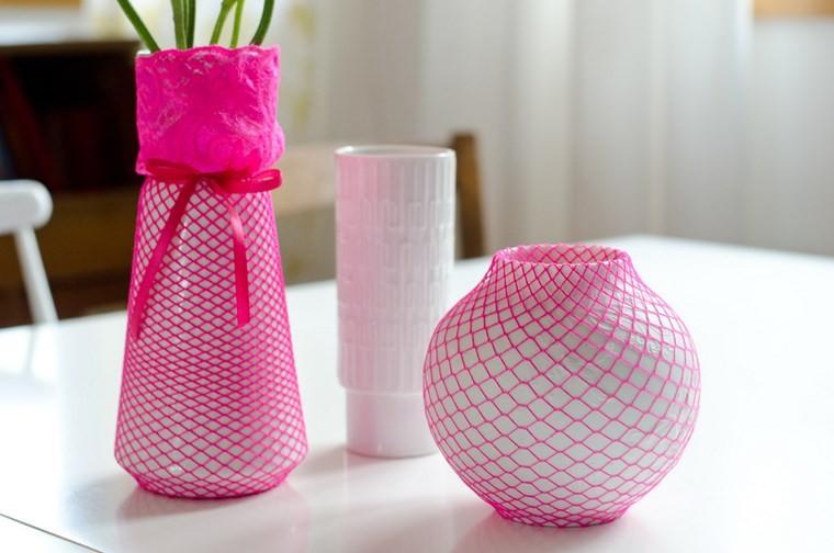 jarrones hechos casa blanco rosa ideas