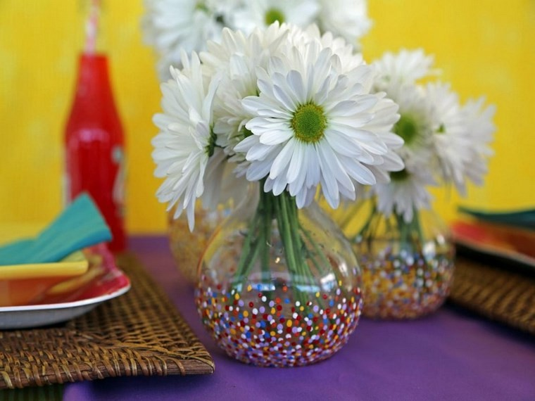 jarrones hechos casa puntos flores blancas ideas