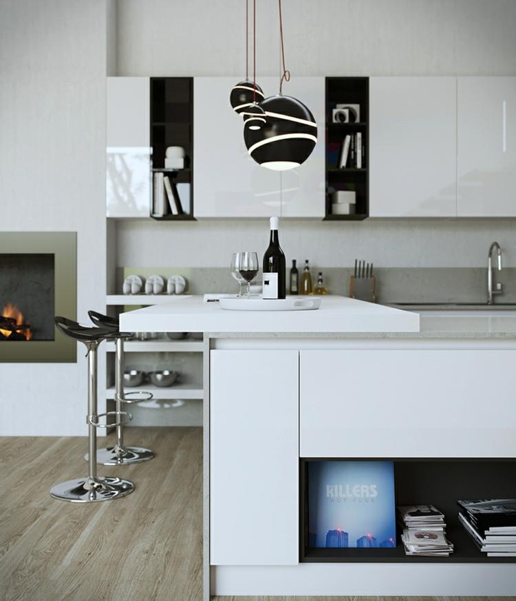 madera silla blancas detalle negros led