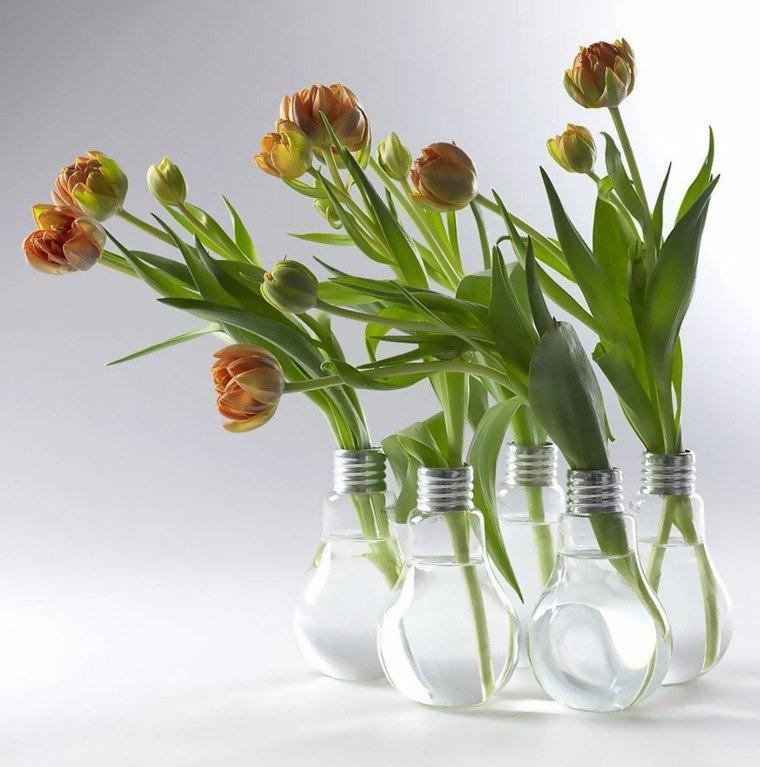 manualidades en casa bombillas floreros bonitos ideas