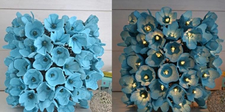 manualidades casa bombillas flores azules ideas
