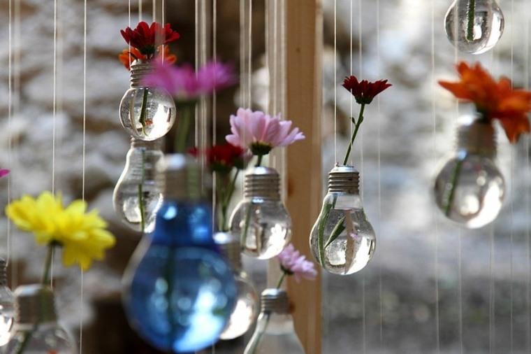 manualidades casa bombillas flores colgantes ideas