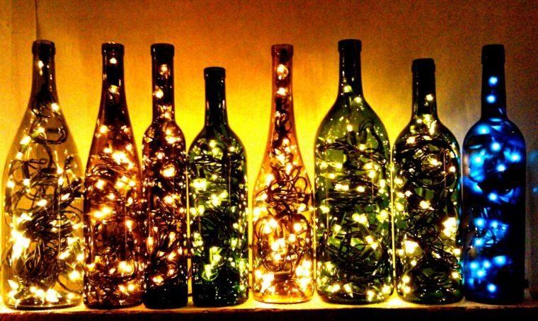 manualidades casa botellas luces ideas