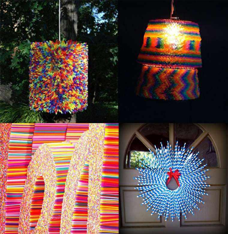 manualidades casa lampara pajitas colores ideas