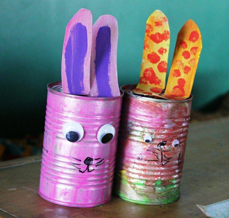 manualidades casa latas convertidas conejos ideas