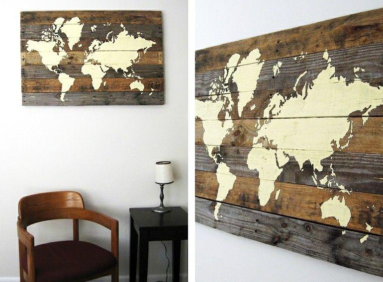 mapa mundo pallet madera