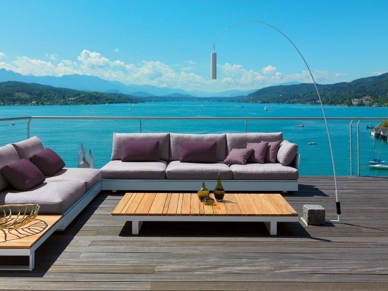mesa madera sofa comodo terraza mar ideas