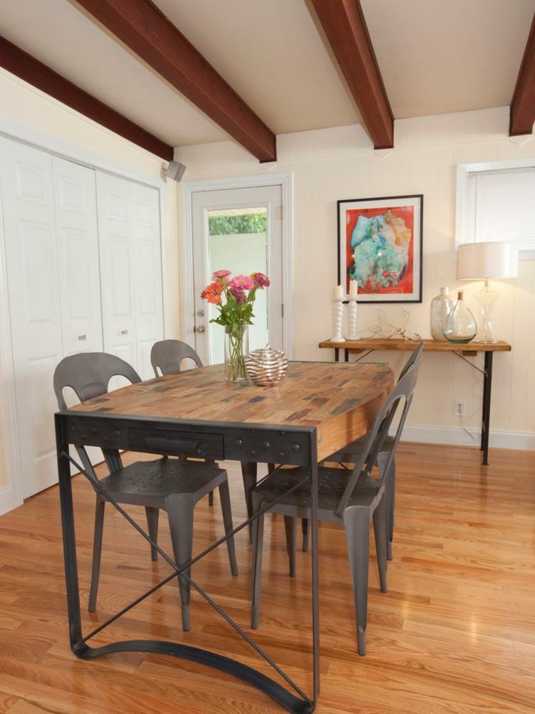mesa metales madera lamparas salas