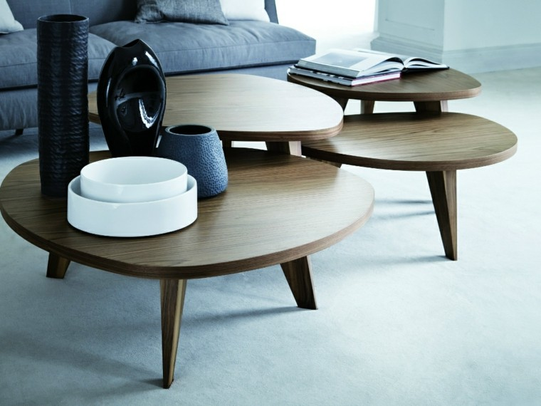 mesas auxiliares preciosas madera tres opciones ideas