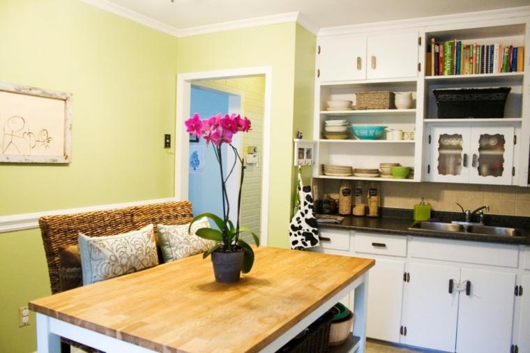 mesas detalles cocinas salones flores encimeras
