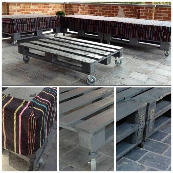 mesa pallet ruedas terraza