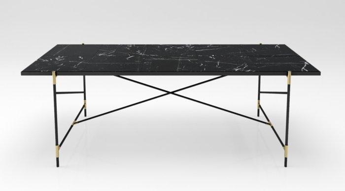 mobiliario diseño dorados crucetas negro
